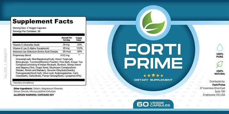 Forti Prime Supplement Facts